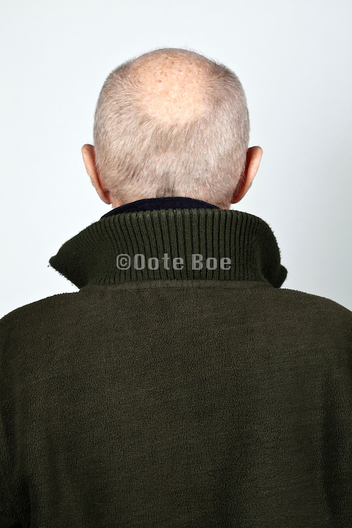 back view portrait 70 year of age person