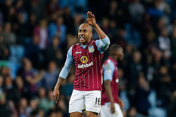 Fabian Delph of Aston Villa shouts at his players after Christian Benteke  (not pictured) scores a third goal to make it 3-3 - Photo mandatory by-line: Rogan Thomson/JMP - 07966 386802 - 07/04/2015 - SPORT - FOOTBALL - Birmingham, England - Villa Park - Aston Villa v Queens Park Rangers - Barclays Premier League.