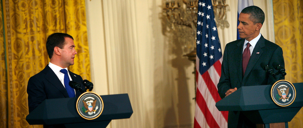 President Barack Obama and President Dmitry Medvedev of Russia at a joint statement and press conference in the East Room of the White House on June 24, 2010.  Photo by Dennis Brack