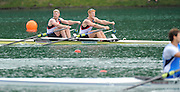 Bled, SLOVENIA,  GBR M2X, Bow. Matt WELLS and Marcus BATEMAN, on the second day of the FISA World Cup, Bled. Held on Lake Bled.  Saturday  29/05/2010  [Mandatory Credit Peter Spurrier/ Intersport Images]