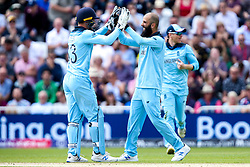 Moeen Ali of England celebrates with Jos Buttler of England after the pair combine to take the wicket of Fakhar Zaman of Pakistan stumped - Mandatory by-line: Robbie Stephenson/JMP - 03/06/2019 - CRICKET - Trent Bridge - Nottingham, England - England v Pakistan - ICC Cricket World Cup 2019 Group Stage