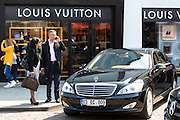 Shoppers and Mercedes by Louis Vuitton shop at Istinye Park shopping mall near Levent business center, Istanbul, Turkey