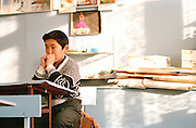 Pupil at school, Olkhon Island, Lake Baikal, Siberia, Russia