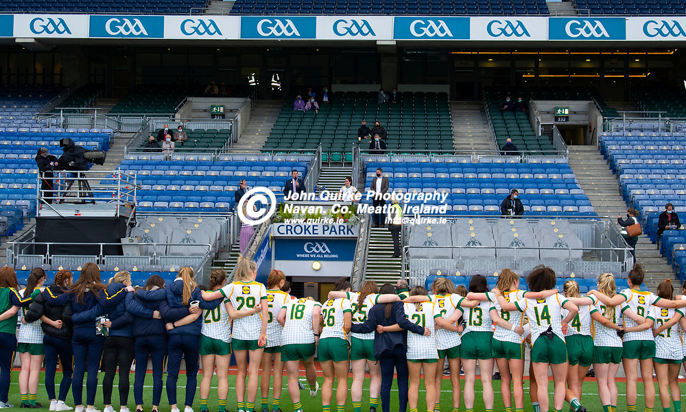26-06-21. Meath v Kerry - Lidl Ladies National Football League Division 2 Final at Croke Park.<br /> Micheal Naughton, President, LGFA presenting the NFL Div. 2 Cup to Meath team captain Shauna Ennis.<br /> Photo: John Quirke / www.quirke.ie<br /> ©John Quirke Photography, 16 Proudstown Road, Navan. Co. Meath. (info@quirke.ie / 046-9028461 / 087-2579454).