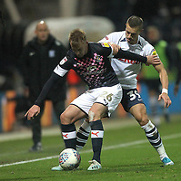Preston North End's Josh Harrop in action with Luton Town's James Bree<br /> <br /> Photographer Mick Walker - CameraSport<br /> <br /> The EFL Sky Bet Championship - Preston North End v Luton Town - Saturday 14th December 2019 - Deepdale Stadium - Preston<br /> <br /> World Copyright © 2019 CameraSport. All rights reserved. 43 Linden Ave. Countesthorpe. Leicester. England. LE8 5PG - Tel: +44 (0) 116 277 4147 - admin@camerasport.com - www.camerasport.com