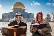 Muslims read the Koran in the large esplanade surrounding the Dome of the Rock. Separated groups of men and women, meet to pray in the Temple mount complex, the third holiest site for Islam, being the spot where Mohammed is believed to have gone to heaven.