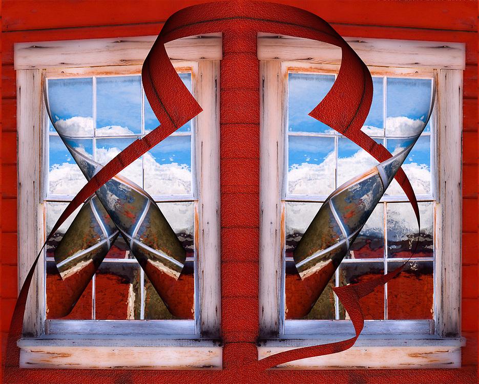"""Kenticott Unraveling"", derivative image created from a photo of a window reflection, morning light, July, Kenticott Mine Historic Site, Wrangell-Saint Elias National Park, Alaska, USA"