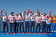"Rio de Janeiro. BRAZIL.   GBR W8+ Silver Medalist, awards dock. GBR M8+. Bow. Scott DURANT,   Tom RANSLEY, Andy Triggs HODGE, Matt GOTREL,  Pete REED, Paul BENNETT, Matt LANGRIDGE, William SATCH and Cox, Phelan HILL. 2016 Olympic Rowing Regatta. Lagoa Stadium,<br /> Copacabana,  ""Olympic Summer Games""<br /> Rodrigo de Freitas Lagoon, Lagoa.   Saturday  13/08/2016 <br /> <br /> [Mandatory Credit; Peter SPURRIER/Intersport Images]"