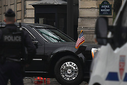 November 10, 2018 - The United States presidential state car with President Donald Trump seen outside the Elysee Palace, the official residence of the President of France on the eve of the international ceremony to mark the centenary of the 1918 Armistice that will take place on November 11th..On Saturday, November 10, 2018, in Paris, France. (Credit Image: © Artur Widak/NurPhoto via ZUMA Press)