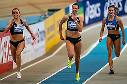 Myke van de Wiel, Britt de Blaauw, Lianne van Krieken in action on the 200 meter final during AA Drink Dutch Athletics Championship Indoor on 21 February 2021 in Apeldoorn.