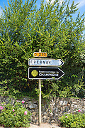 Sign for Epernay, D210 and the Tourist Route of Champagne - Route Touristique du Champagne - in Champagne-Ardenne region, France