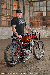 Freddie Bollwage with his 1921 J Model Harley-Davidson racer that he raced in Daytona here at the Congregation Show. Charlotte, NC. USA. Saturday April 14, 2018. Photography ©2018 Michael Lichter.