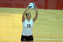29 October 2005: Saluki Monica Laird sets up the kill. In three games, the Illinois State Redbirds ran past the Salukis of Southern Illinois University. The matchup took place at Redbird Arena on the campus of Illinois State University in Normal IL