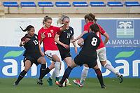 Fotball<br /> 06.03.2017<br /> WU 23 National 5 Nations Tournament<br /> La Manga , Spania<br /> Norge - USA<br /> Adrienne Jordan (L) , Tyler Lussi (3R) og Morgan Andrews (2R) , USA<br /> Marina Jensen (4R)  , Norge<br /> Foto: Astrid M. Nordhaug