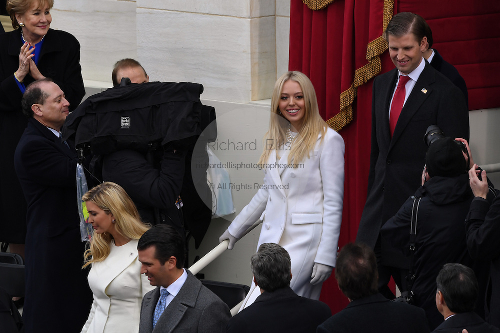 Tiffany Trump walks with Eric Trump as they arrive for the President Inaugural Ceremony on Capitol Hill January 20, 2017 in Washington, DC. Donald Trump became the 45th President of the United States in the ceremony.