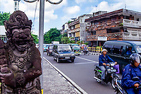 Bali, Denpasar. The capital center. Dense traffic.