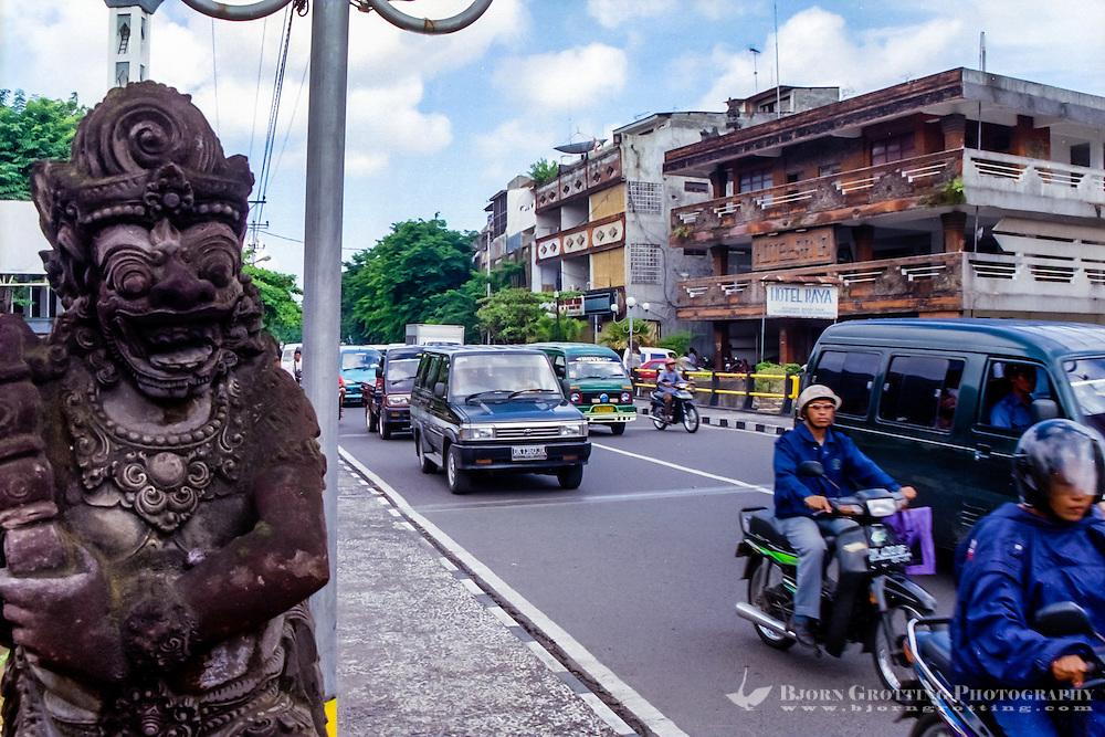 Bali, Denpasar. The capital center. Dense traffic.