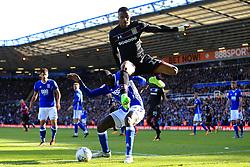 29th October 2017 - Sky Bet EFL Championship - Birmingham City v Aston Villa - Jonathan Kodjia of Villa hurdles Cheick Ndoye of Birmingham - Photo: Simon Stacpoole / Offside.