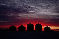 Five grain bins silhouetted against the sunrise...©2009, Sean Phillips.http://www.Sean-Phillips.com