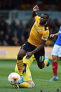Lenell John-Lewis of Newport county © goes past Portsmouth goalkeeper Aaron McCarey but misses the goal. .Skybet football league two match, Newport county v Portsmouth at Rodney Parade in Newport, South Wales  on Saturday 17th October 2015.<br /> pic by  Andrew Orchard, Andrew Orchard sports photography.