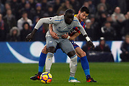 Idrissa Gueye of Everton (L) holds off Joel Ward of Crystal Palace (R). Premier League match, Crystal Palace v Everton at Selhurst Park in London on Saturday 18th November 2017.<br /> pic by Steffan Bowen, Andrew Orchard sports photography.