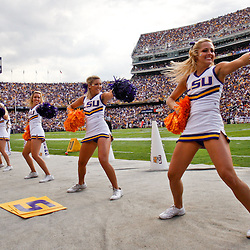 October 22, 2011; Baton Rouge, LA, USA; LSU Tigers cheerleaders perform during a game against the Auburn Tigers at Tiger Stadium.  Mandatory Credit: Derick E. Hingle-US PRESSWIRE / © Derick E. Hingle 2011