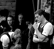 Peter Spurrier Sports Photo<br /> email pictures@rowingpics.com<br /> 44 (0) 7973 819 551<br /> Boat Race 2001<br /> <br /> Oxford president, Dan Snow, looks back at the river, too compose himself before turning to face the crowd, following the dissapointment of losing the 147th Boat race. [Mandatory Credit; Peter SPURRIER/Intersport Images]<br /> <br /> 20010324 University Boat Race, Putney to Mortlake, London, Great Britain.