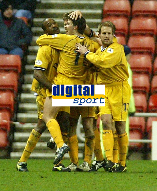Photo. Andrew Unwin.<br /> Sunderland v Preston North End, Nationwide League Division One, Stadium of Light, Sunderland 11/03/2004.<br /> Preston's David Healy (c) is mobbed by his teammates after scoring the equaliser.