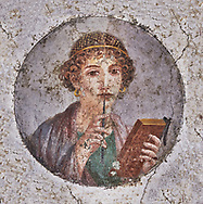 Roman Fresco of Sappho, very famous archaic Greek poet from Lesbos, Sappho is known for her lyric poetry, written to be sung while accompanied by a lyre. inv 9084,  Naples Archaeological Musum, Italy.  Wall art print by Photographer Paul E Williams If you prefer visit our World Gallery Print Shop To buy a selection of our prints and framed prints desptached  with a 30-day money-back guarantee and is dispatched from 16 high quality photo art printers based around the world. ( not all photos in this archive are available in this shop) https://funkystock.photoshelter.com/p/world-print-gallery .<br /> <br /> USEFUL LINKS:<br /> Visit our other HISTORIC AND ANCIENT ART COLLECTIONS for more photos to buy as wall art prints  https://funkystock.photoshelter.com/gallery-collection/Ancient-Historic-Art-Photo-Wall-Art-Prints-by-Photographer-Paul-E-Williams/C00002uapXzaCx7Y