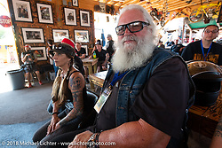Pat Ford before the Cycle Source ride on the 78th annual Sturgis Motorcycle Rally. Sturgis, SD. USA. Wednesday August 8, 2018. Photography ©2018 Michael Lichter.