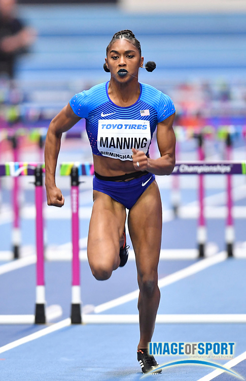 Christina Manning (USA) during her heat of the Women's 60m Hurdles during the evening session of the IAAF World Indoor Championships at Arena Birmingham in Birmingham, United Kingdom on Friday, Mar 2, 2018. (Steve Flynn/Image of Sport)