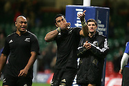 Jerome Kaino (c) , the New Zealand try scorer gestures to the Allblack supporters. Invesco Perpetual series 2008 autumn international match, Wales v New Zealand at the Millennium Stadium on Sat 22nd Nov 2008. pic by Andrew Orchard, Andrew Orchard sports photography,