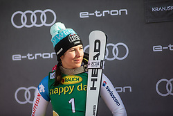 Wendy Holdener (SUI) celebrating at the Ladies' Slalom at 56th Golden Fox event at Audi FIS Ski World Cup 2019/20, on February 16, 2020 in Podkoren, Kranjska Gora, Slovenia. Photo by Matic Ritonja / Sportida