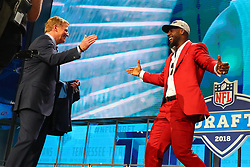 April 26, 2018 - Arlington, TX, U.S. - ARLINGTON, TX - APRIL 26:  Rashaan Evans shakes hands with NFL Commissioner Roger Goodell after being chosen by the Tennessee Titans with the 22nd pick during the first round at the 2018 NFL Draft at AT&T Statium on April 26, 2018 at AT&T Stadium in Arlington Texas.  (Photo by Rich Graessle/Icon Sportswire) (Credit Image: © Rich Graessle/Icon SMI via ZUMA Press)