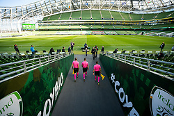 DUBLIN, REPUBLIC OF IRELAND - Sunday, October 11, 2020: The officials walk out of the tunnel before the UEFA Nations League Group Stage League B Group 4 match between Republic of Ireland and Wales at the Aviva Stadium. The game ended in a 0-0 draw. (Pic by David Rawcliffe/Propaganda)