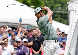 June 24, 2018 - Cromwell, CT, U.S. - CROMWELL, CT - JUNE 24:  Jason Day tees off on 1 during the Final Round of the Travelers Championship on June 24, 2018 at TPC River Highlands in Cromwell, CT (Photo by Joshua Sarner/Icon Sportswire) (Credit Image: © Joshua Sarner/Icon SMI via ZUMA Press)