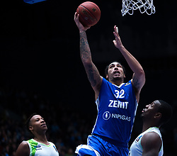 November 8, 2017 - Saint Petersburg, Russia - Kenny Kadji (L), Raymar Morgan of Tofas Bursa and Drew Gordon (C) of Zenit St. Petersburg vie for the ball during the EuroCup Round 5 regular season basketball match between Zenit St. Petersburg and Tofas Bursa at the Yubileyny Sports Palace in St. Petersburg, Russia, November 08, 2017. (Credit Image: © Igor Russak/NurPhoto via ZUMA Press)