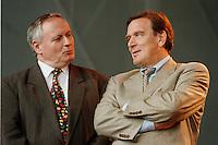 07.10.1995, Germany/Berlin:<br /> Oskar Lafontaine, SPD, Ministerpräsident Saarland und Gerhard Schröder, SPD, Ministerpräsident Niedersachsen, Kundgebung auf dem Alexanderplatz zum 50. Jahrestag der Wiedergründung der SPD<br /> IMAGE: 19951007-02/02-25<br />  <br />  <br />  <br /> KEYWORDS: Schroeder