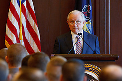 June 15, 2018 - Scranton, Pennsylvania, US - Attorney General JEFF SESSIONS delivers remarks on immigration and law enforcement actions to cadets from Lackwanna College Police Academy. (Credit Image: © Michael Candelori via ZUMA Wire)