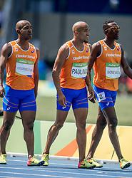18-08-2016 BRA: Olympic Games day 13, Rio de Janeiro<br /> Solomon Bockarie, Hensley Paulina, Liemarvin Bonevacia en Giovanni Codrington kwamen met een tijd van 38,53 niet verder dan de achtste plaats.