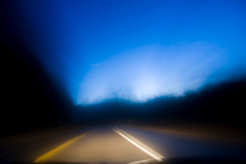 Driving at night down Highway 20 in Washington.