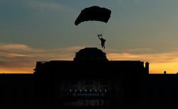 28.05.2017, Schloss Klessheim, Salzburg, AUT, 1.FBL, FC Red Bull Salzburg Meisterfeier, im Bild ein Mitglied des Red Bull Skydive Teams mit seinem Fallschirm // A member of the Red Bull Skydive team with his paraglider during the Austrian Football Bundesliga Championsship Celebration at the Schloss Klessheim, Salzburg, Austria on 2017/05/28. EXPA Pictures © 2017, PhotoCredit: EXPA/ JFK