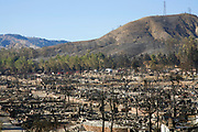 Oakridge Trailer Park devastated after Sylmar Wildfire in November 2008, California, USA