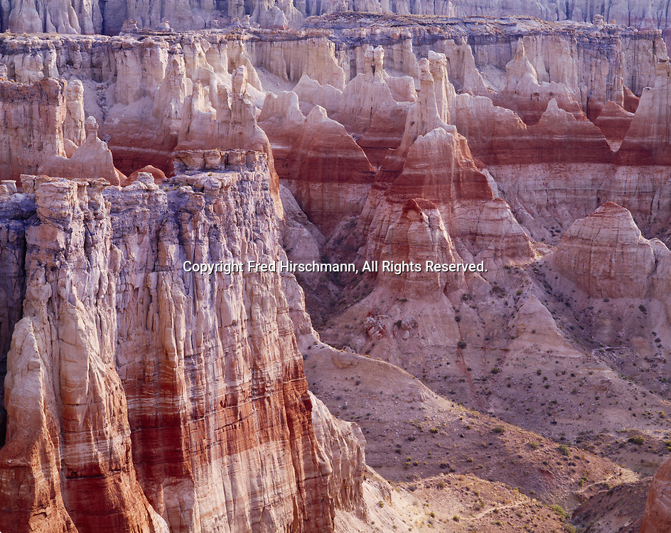 Hoodoos and canyon walls eroded into the Mancos Shale, Dakota Sandstone, Cow Springs Sandstone, Entrada Sandstone and Carmel Formation, Coal Mine Canyon, Navajo Reservation, Arizona.