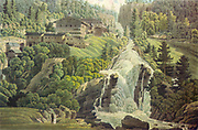 Historic watercolor of Bad Gastein, Austria j j Strudt 1800