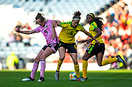 Caroline Weir (#9) of Scotland is dispossessed by Havana Solaun (#6) of Jamaica during the International Friendly match between Scotland Women and Jamaica Women at Hampden Park, Glasgow, United Kingdom on 28 May 2019.