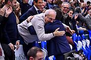 Gianmarco Pozzecco, Giuseppe Cuccurese<br /> Banco di Sardegna Dinamo Sassari - Segafredo Virtus Bologna<br /> Legabasket LBA Serie A 2019-2020<br /> Sassari, 22/12/2019<br /> Foto L.Canu / Ciamillo-Castoria