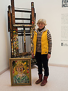 THERESA GRANT-PETERKIN WITH HER PORTRAIT BY JOHN BRATBY, John Bratby exhibition, Jerwood Gallery. Hastings. 22 March 2016