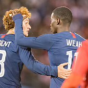 EAST HARTFORD, CONNECTICUT- October 16th:   Tim Weah #11 of the United States and Josh Sargent #13 of the United States during the United States Vs Peru International Friendly soccer match at Pratt & Whitney Stadium, Rentschler Field on October 16th 2018 in East Hartford, Connecticut. (Photo by Tim Clayton/Corbis via Getty Images)