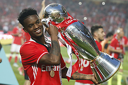 May 13, 2017 - Lisbon, Portugal - Benfica's defender Nelson Semedo holds the cup after winning their 36th title at the end of the Portuguese league football match SL Benfica vs Vitoria Guimaraes SC at the Luz stadium in Lisbon on May 13, 2017. (Credit Image: © Carlos Palma/NurPhoto via ZUMA Press)